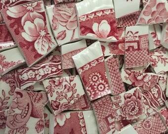 Mosaic Tiles Vintage Broken PLate Pieces 200 tranferware Peony Red Willow Adams Ware Mix