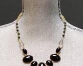 SALE . preston . black // black statement necklace . black bubble necklace . retro statement necklace . vintage style bib necklace