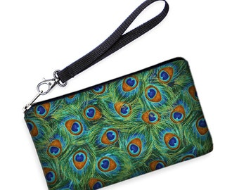 iPhone s6 plus Case, Galaxy S7 Edge Purse, Xperia Z5 Bag, Lumia 640 Smartphone Wristlet removable strap green blue peacock feathers  SALE