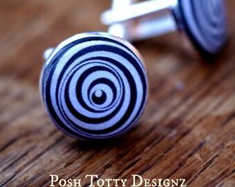 Vintage Inspired Marcel Duchamp French Lightweight Fabric Button Cufflinks (167)