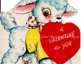 Vintage Original 1940's A Valentine For You Lamb Greetings Card (B17)