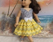 18 Inch Doll Dress Fits Like American Girl Yellow Chevron and Grey Dot Medley Curved V Neckline and Butterfly Lace Bow Accents