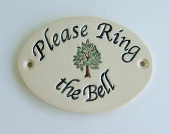 "Ceramic Door Plaque, ""Please Ring The Bell""  Tree of Life, Porcelain"