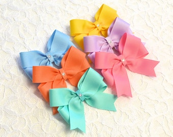 Candy Heart Hair Bows- 5 styles - 4 sizes - pastel toddler bows - no slip baby bows - hair bow lot - girls bows - hair bows