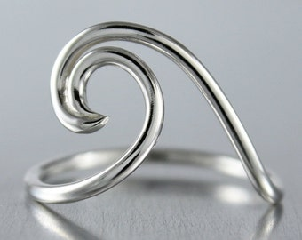 SALE Silver Wave Ring, Ocean Jewelry, Nautical Design, Sterling Silver Ring