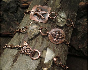 B1531 Copper Badge Bird or Flower chunky bracelet with Smoky Quartz Rock Crystal