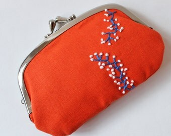 Coin purse / wallet - orange purse embroidery blue branches with white flowers, kiss lock coin purse, orange purse, embroidered