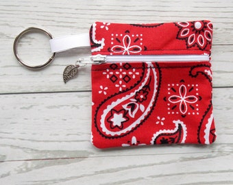 Red Bandana Ear Bud Case - Ear Bud Holder - Earphone Case - Bandana Coin Purse - Red Bandana Gift - Key Chain- Country Music Gift - Mini Bag