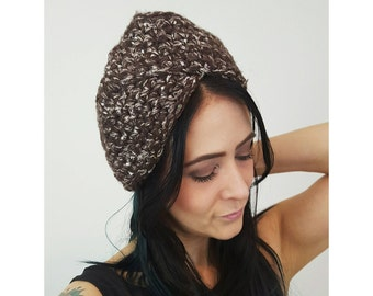 Handmade Brown Crochet Turban - Ecofriendly Upcycled Recycled Handknit Winter Hat - Eco Friendly Recycled Wool Crochet Fall Autumn Winter