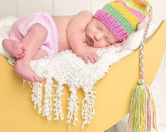NeWBoRN Baby Girl OuTFiT Knit PHoTO PRoP Hat Diaper Cover SET Stripe FCN TaSSEL CAP Pink Green Yellow Beanie PiCK CoLOR Coming Home Set GiFT