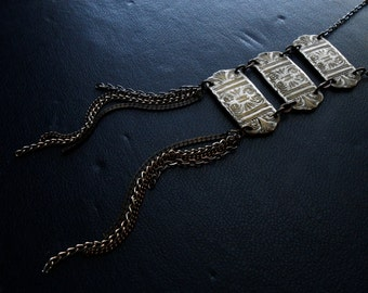 corinthian - repurposed ladder necklace statement necklace - occult necklace fringe necklace tassel necklace greek mythology greek columns