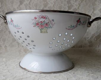 Vintage Enamelware on Steel Metal Colander White with PInk Roses in Basket Ribbons Flowers Shabby Chic Kitchen Tool