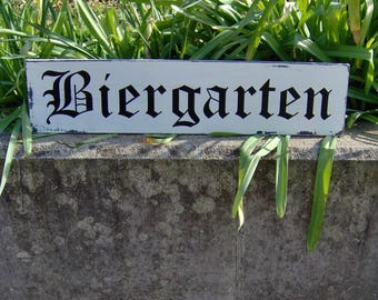 Biergarten Distressed Sign Wood Vinyl Bar Decor Sign Rustic Wood Sign Wall Hangings Wall Decor Farmhouse Style Family Gathering Friends Sign