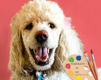 Poodle Portrait - Poodles Dog Portrait - Poodle Painting from your Photo - Portraits by NC