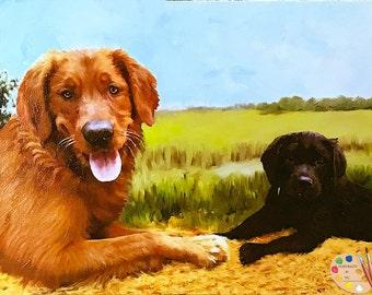 Golden Retriever Portrait - Pet Portraits - Golden Retriever Painting from your Photos - Portraits-by-NC