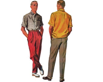50s Mens Shirt pattern and Mens Slacks pattern vintage Waist 36 Chest 40 Sport Shirt pattern mccalls 3995