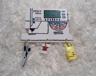 Sewing Machine Pin, Pfaff 7550, sewing machine pin. Broach, Decorative Jewelry, stylish pin, sewing motif, collectible,