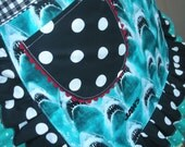 Womens Aprons - Jaws Aprons - Aprons with Shark Fabric - Shark Aprons - Blue Aprons - Annies Attic Aprons - Etsy Aprons - Black Half Aprons