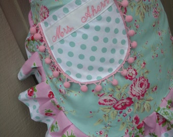 Aprons - Aprons with Pink Roses - Monogrammed Pink Aprons - Aqua Aprons - Shabby Chic Blue Aprons - Annies Attic Aprons - Handmade Aprons
