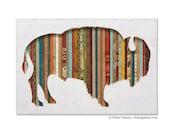 American Bison Silhouette Mixed Media Buffalo Art