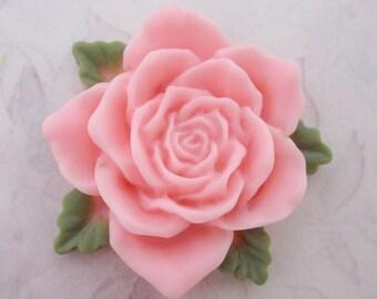 3 pcs. resin pink flower flat back cabochons 36x35mm - f5350
