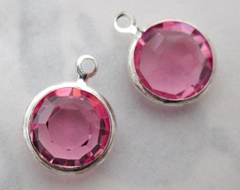 5 pcs. Vintage Swarovski rose pink crystal silver plated channel set rhinestone charms 10mm - f5421