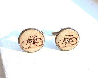 Vintage Bike Dime Cufflinks - Bike Cuff links - Eco  Recycled Gift bicycle cufflinks -bicycle gift for him - personalized cufflinks oakland