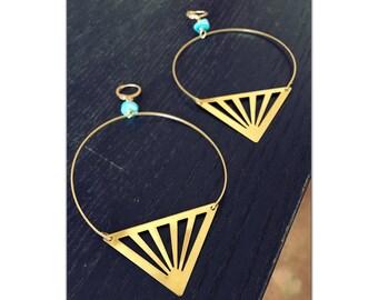 Lightweight Brass Triangle Hoop Earrings - Statement Earrings - Oversized - Large Hoop Earrings - turquoise howlite - Free Shipping