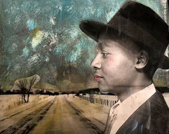 Painting Vintage man with  fedora  original  mixed media  on canvas Heather Murray