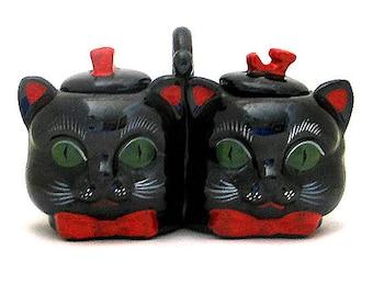 Vintage Shafford Black Cat Jam and Marmalade Serving Dish