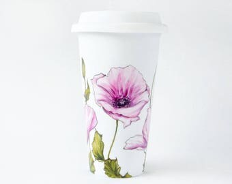 Hand Painted White Coffee Cup - Pink Poppy | Botanical Collection