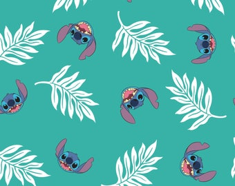 Palm Leaves in Turquoise Lilo and Stitch Disney Woven Cotton Fabric BTY
