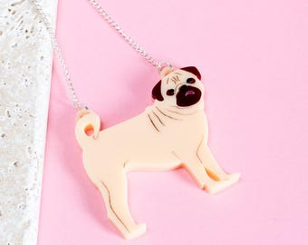 Pug necklace – pug gift – gift for dog lover – dog jewellery – pug jewelry – pug pendant  – pug-owner gift - pug face - pug accessory