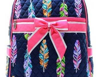 Personalized Quilted Backpack - Monogrammed Backpack - Embroidered Backpack Diaper Bag - Feather Backpack - Personalized Backpack - Daycare