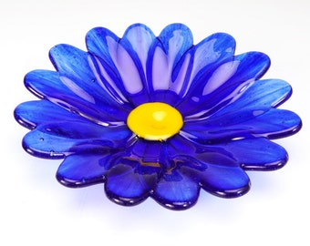 Cobalt Blue flower dish, fused glass bowl, flower bowl, spring flower bowl, gift for her, flowers of spring