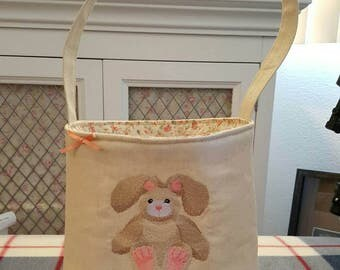 Fabric Bunny & Floral Basket