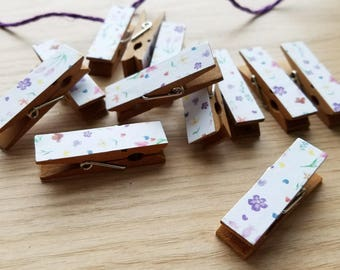 Natural Summer Wild Flowers Clips w Twine for Photo Display - Chunky Little Clothespin Set of 12
