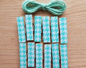 Aqua Seafoam Teal Turquoise Houndstooth w Twine for Photo Display, Chunky Little Clothespin Clips Set of 12, Baby Shower Birthday Party