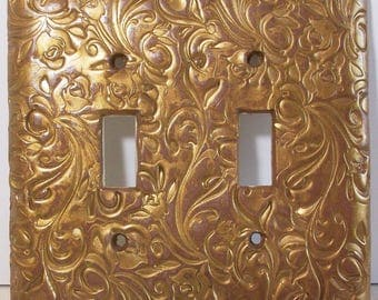 Sunset gold floral double toggle light switch cover