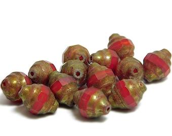 Czech Picasso Beads - Turbine Beads - Red Turbine - Fire Polished Beads - Czech Glass Beads - Czech Beads - 13pcs (B661)