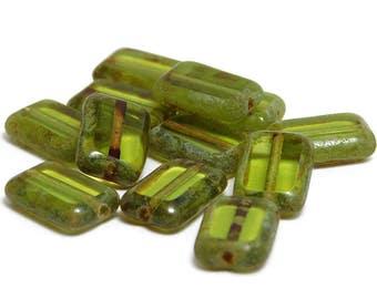 Czech Picasso Beads - Rectangle Beads - 12x8mm - Czech Glass - Glass Beads - Table Cut Beads - 12pcs (A48)