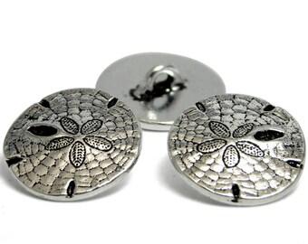 Silver Buttons - TierraCast Buttons - Sand Dollar - Metal Shank Button - Metal Buttons - 17mm (5802) 2pcs