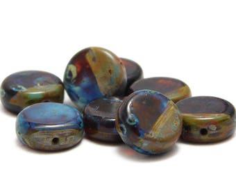 Czech Picasso Beads - Coin Beads - Rustic Beads - Czech Glass Beads - 10mm - Disc Beads - Flat Coin - Lentil Beads - 8pcs (2397)