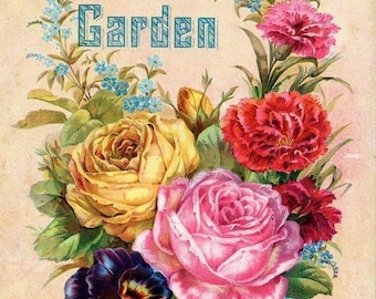 Vintage Roses Seed Ad Cross Stitch Pattern PDF