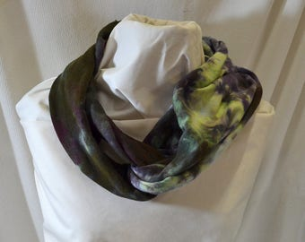 Hand Dyed Hemp Knit Infinity Scarf - Intense Colors that will Express Your Creativity, Soft Knit Fabric, Indigo, Violet, and Dark Green