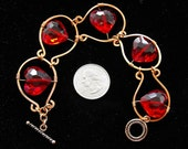 Red Hearts Framed in Hammered Copper Bracelet - Vivid Red Glass Sweetheart Gift, Copper Toggle Clasp
