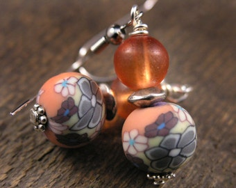 SALE Orange glass, flower polymer clay beads and silver handmade earrings