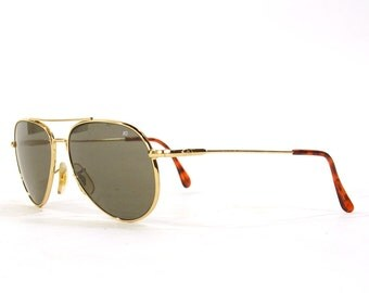 90s AO Aviator Sunglasses / Vintage 1990s American Optical Military Style Tinted Glasess / Gold Wire Frame