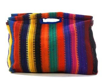 BIG 70s Boho Carpet Bag Vintage Handwoven Rainbow Kilim Tapestry Purse Rug Remnant Hippie Bohemian Festival Market Tote Large Vegan Clutch