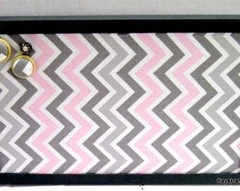 Pink Gray Chevron Grey Framed Corkboard, Cork Bulletin Board, 17x11 Tack Board, Cork Pin Board, Gray Frame Cork Board, Cork Message Board